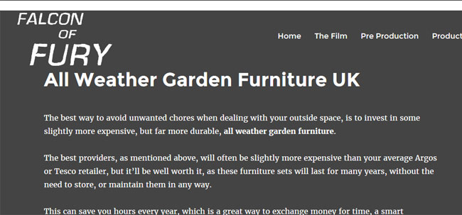 Falcon of Fury all weather furniture